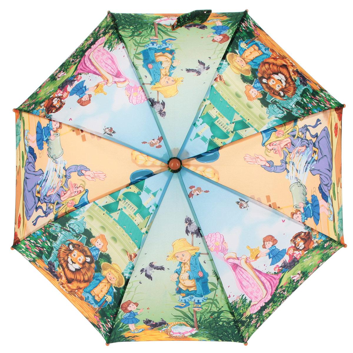 Зонт-трость детский Zest, цвет: зеленый, голубой, мультицвет. 21-0221-02Красочный детский зонт-трость ZEST выполнен из металла и пластика, оформлен принтом с изображениями героев известнейших сказок. Каркас зонта выполнен из восьми спиц, стержень из стали. На концах спиц предусмотрены пластиковые элементы, которые защитят малыша от травм. Купол зонта изготовлен прочного полиэстера. Закрытый купол застегивается на липучку хлястиком. Практичная глянцевая рукоятка закругленной формы разработана с учетом требований эргономики и выполнена из пластика. Зонт раскладывается и складывается при помощи механических воздействий.