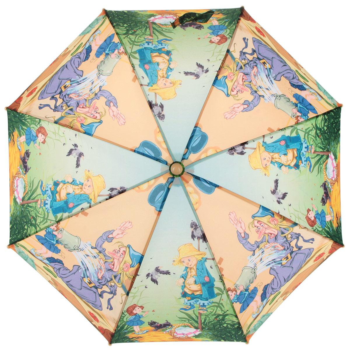 Зонт-трость детский Zest, цвет: зеленый, оранжевый, мультицвет. 21-0421-04Красочный детский зонт-трость ZEST выполнен из металла и пластика, оформлен принтом с изображениями героев известнейших сказок. Каркас зонта выполнен из восьми спиц, стержень из стали. На концах спиц предусмотрены пластиковые элементы, которые защитят малыша от травм. Купол зонта изготовлен прочного полиэстера. Закрытый купол застегивается на липучку хлястиком. Практичная глянцевая рукоятка закругленной формы разработана с учетом требований эргономики и выполнена из пластика. Зонт раскладывается и складывается при помощи механических воздействий.