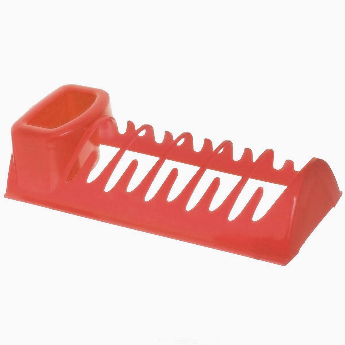 Сушилка для посуды Idea Эконом, цвет: красный, 34 см х 14,5 см х 8,5 смМ 1173Сушилка для посуды Idea Эконом, выполненная из высококачественного пластика, представляет собой решетку с ячейками, в которые помещается посуда, и отделение для столовых приборов. Ваши тарелки высохнут быстро, если после мойки вы поместите их в легкую, яркую, современную пластиковую сушилку.