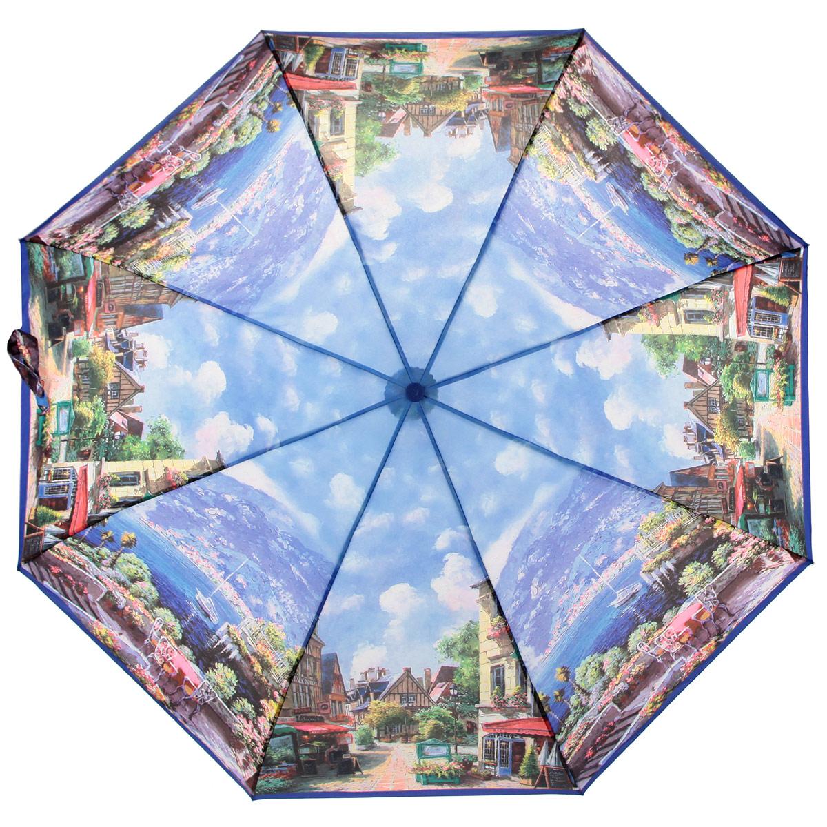 Зонт женский Zest, цвет: синий, мультицвет. 239555-03239555-03Автоматический женский зонт Zest выполнен из прочной стали с антикоррозийным покрытием, содержит восемь спиц из фибергласса, устойчивых к выгибанию. Зонт оформлен сублимационной печатью, с высоким качеством изображения. Изделие оснащено полностью автоматическим механизмом. Предусмотрена комфортная прорезиненная ручка и чехол для хранения изделия. Стильный автоматический Zest даже в ненастную погоду позволит вам оставаться элегантной.