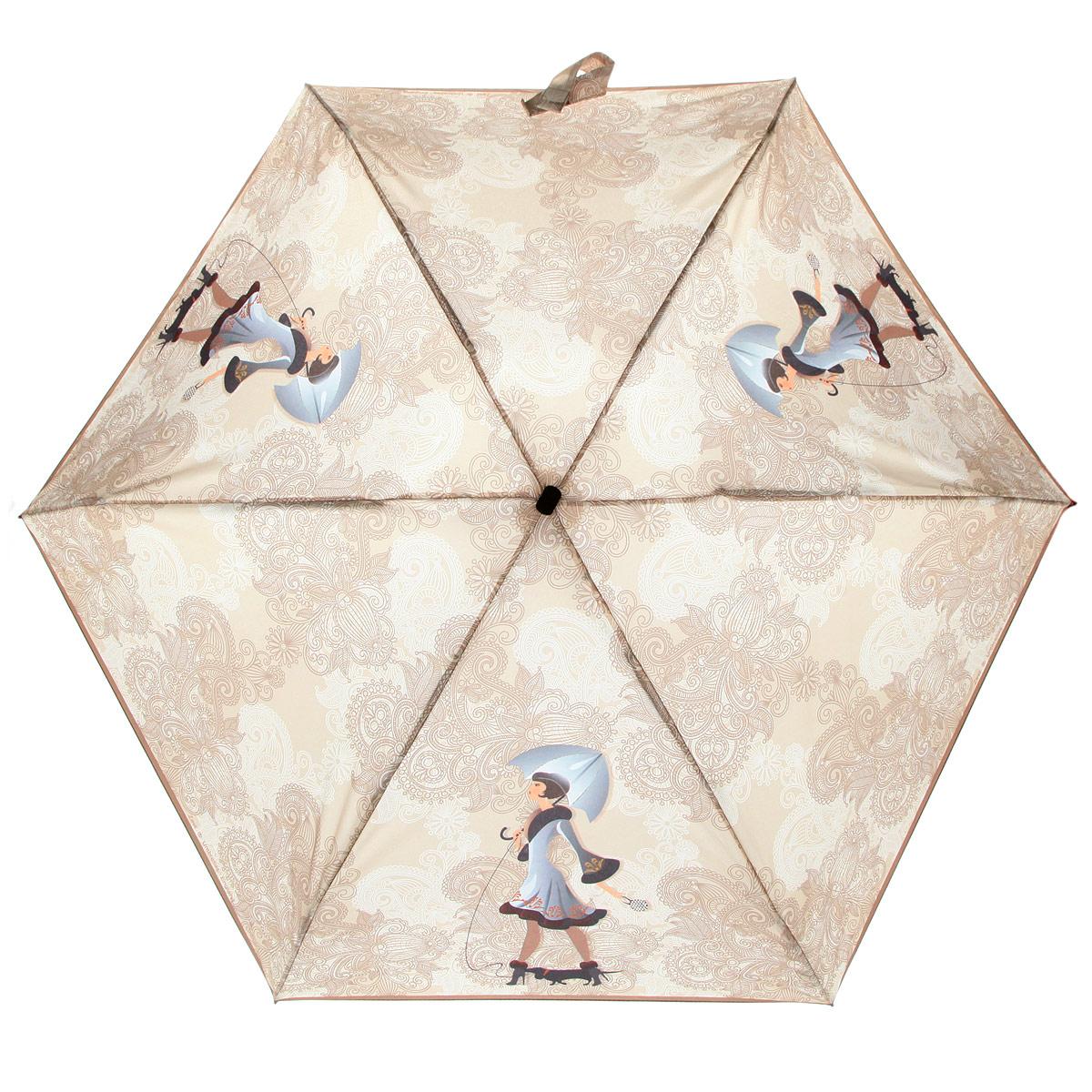 Зонт женский Zest, цвет: бежевый, серый. 25516-270225516-2702Модный женский зонт ZEST выполнен из металла и пластика, оформлен принтом с изображениями дамы с собачкой. Каркас зонта выполнен из шести спиц, стержень из стали. На концах спиц предусмотрены металлические элементы, которые защитят владельца от травм. Купол зонта изготовлен прочного полиэстера. Закрытый купол застегивается на липучку хлястиком. Практичная рукоятка закругленной формы разработана с учетом требований эргономики и выполнена из пластика. Зонт складывается и раскладывается механическим способом. Такой зонт не только надежно защитит от дождя, но и станет стильным аксессуаром.