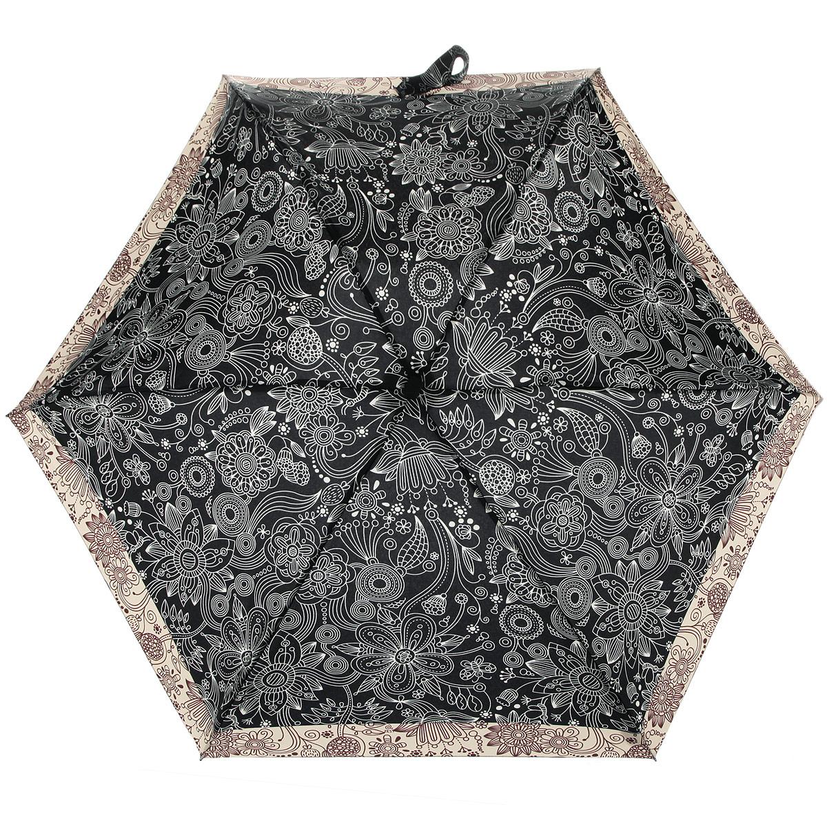 Зонт женский Zest, цвет: темно-коричневый, бежевый. 25516-217225516-2172Компактный женский зонт ZEST выполнен из металла, пластика и оформлен ярким принтом. Каркас зонта выполнен из шести спиц, стержень из стали. На концах спиц предусмотрены металлические элементы, которые защитят владельца от травм. Купол зонта изготовлен прочного полиэстера. Закрытый купол застегивается на липучку хлястиком. Практичная рукоятка закругленной формы разработана с учетом требований эргономики и выполнена из пластика. Зонт складывается и раскладывается механическим способом. Такой зонт не только надежно защитит от дождя, но и станет стильным аксессуаром.