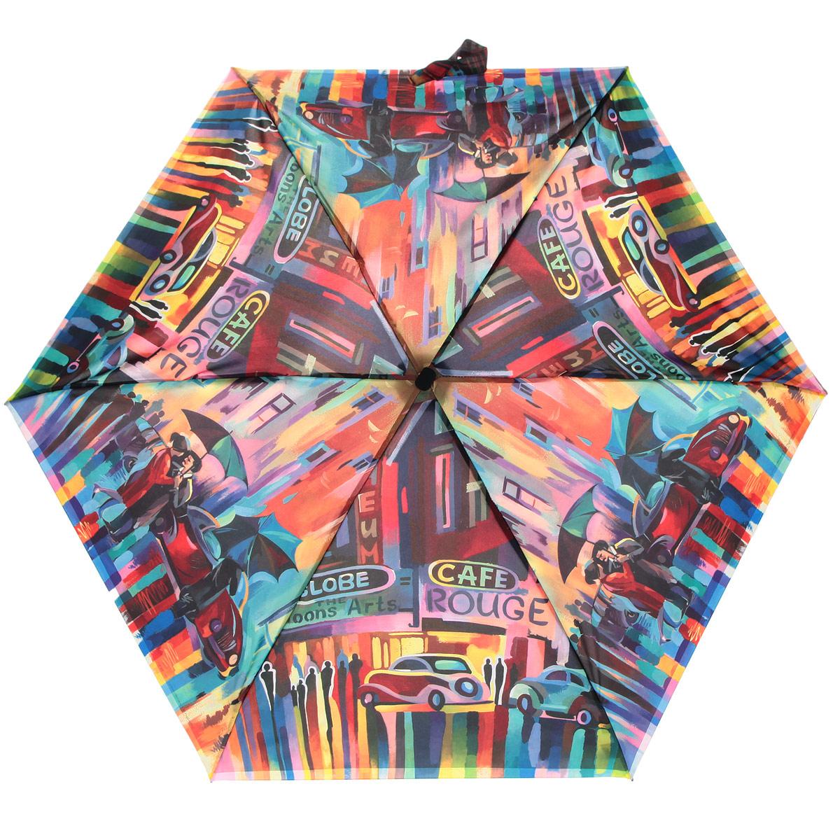 Зонт женский Zest, цвет: мультицвет. 25516-113925516-1139Компактный женский зонт ZEST выполнен из металла, пластика и оформлен ярким принтом. Каркас зонта выполнен из шести спиц, стержень из стали. На концах спиц предусмотрены металлические элементы, которые защитят владельца от травм. Купол зонта изготовлен прочного полиэстера. Закрытый купол застегивается на липучку хлястиком. Практичная рукоятка закругленной формы разработана с учетом требований эргономики и выполнена из пластика. Зонт складывается и раскладывается механическим способом. Такой зонт не только надежно защитит от дождя, но и станет стильным аксессуаром.