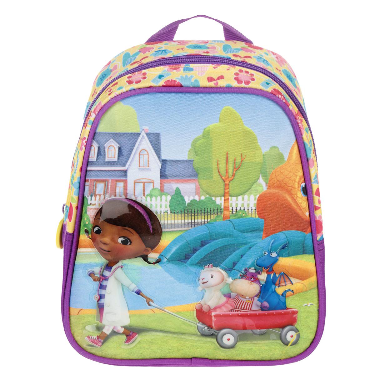 Рюкзак-мини Disney Доктор Плюшева, цвет: фиолетовый. 2494324943Рюкзачок Доктор Плюшева непременно порадует маленькую модницу. В его отделение на молнии легко поместятся игрушки, бутылочка для воды и дрвугие предметы, которые пригодятся на прогулке, в гостях или в детском садике. Лямки рюкзака легко регулируются по длине, поэтому аксессуар подойдет деткам разного роста. Изделие изготовлено из износоустойчивой ткани с водонепроницаемой основой, поэтому имеет долгий срок службы и надежно защищает вещи от намокания. Рюкзачок украшен привлекательным принтом с изображением героев мультфильма Доктор Плюшева. Рюкзак имеет одно внутреннее отделение на молнии, один внешний карман на молнии и два внешних кармана-сетки.