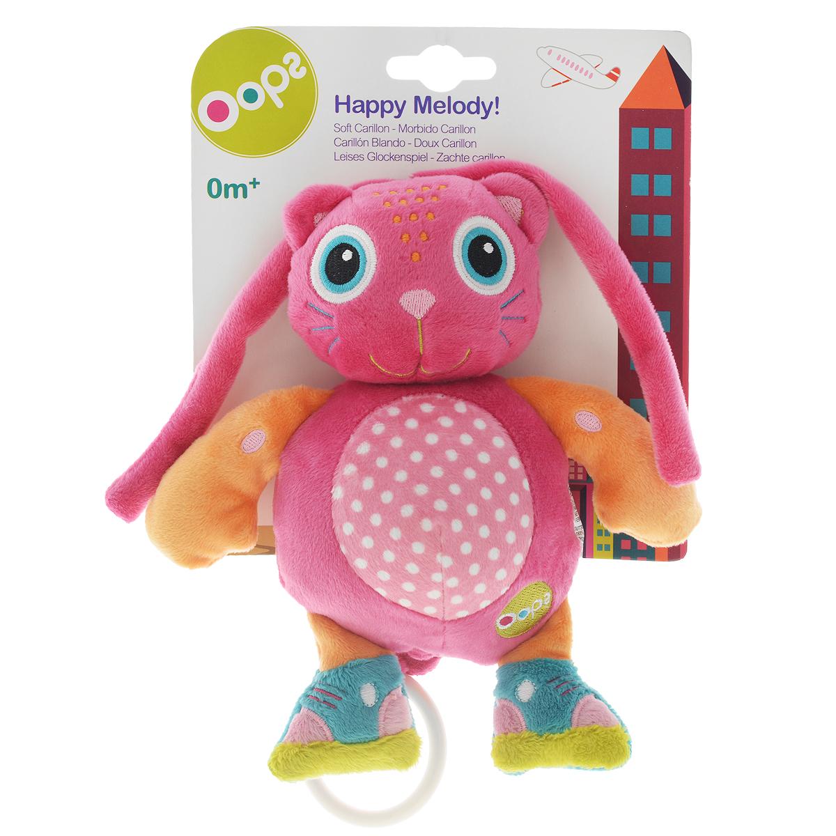 Музыкальная игрушка-подвеска OOPS КошкаO 12002.21Музыкальная игрушка-подвеска OOPS Кошка изготовлена из мягкого и приятного на ощупь текстиля ярких приятных тонов в виде милой кошечки. Если вы потяните за пластиковое кольцо вниз, малыш услышит негромкую успокаивающую мелодию, которая заменит наскучившие колыбельные и поможет ему заснуть. Подвеска выполнена из гипоаллергенного волокна. Крепится к кровати с помощью специальных веревочек. Игрушка-подвеска OOPS Кошка развивает слух, моторику, зрительно-цветовое восприятие и обладает релаксирующим воздействием.
