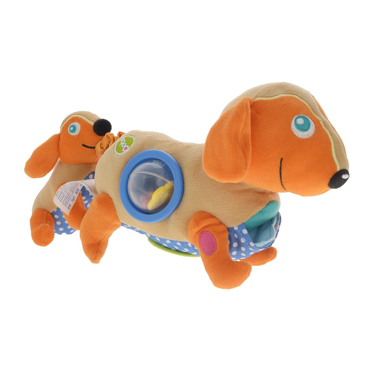 Игрушка развивающая OOPS СобакаO 11004.00Игрушка развивающая OOPS Собака изготовлена из разнофактурных высококачественных материалов, безопасных для детей маленького возраста. Игрушка представляет собой собачку-маму с маленьким детенышем. Если детеныша потянуть назад, то она опять притянется к собачке-маме, причем игрушка будет вибрировать. Спереди собачки-мамы расположен кармашек, в котором находятся два пришитых текстильных аксессуара, сбоку шарик-погремушка, а на дне расположена пластиковая вставка с зеркальной поверхностью. Детеныш оснащен пищалкой. Игрушка мягкая, ее приятно сжимать и трогать. Нежная на ощупь поверхность и новые приятные цвета развивают органы чувств вашего малыша. Развивающая игрушка OOPS Собака способствует развитию мелкой моторики и зрительно-цветовому восприятию. Такая игрушка обязательно понравится вашему ребенку.