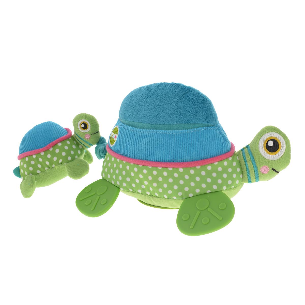Игрушка развивающая OOPS ЧерепахаO 11006.00Игрушка развивающая OOPS Черепаха изготовлена из разнофактурных высококачественных материалов, безопасных для детей маленького возраста. Игрушка представляет собой черепаху-маму с маленьким детенышем. Если детеныша потянуть назад, то она опять притянется к черепахе-маме, причем игрушка будет вибрировать. На дне черепахи-мамы расположена пластиковая вставка с зеркальной поверхностью. Детеныш оснащен пищалкой. Игрушка мягкая, ее приятно сжимать и трогать. Нежная на ощупь поверхность и новые приятные цвета развивают органы чувств вашего малыша. Развивающая игрушка OOPS Черепаха способствует развитию мелкой моторики и зрительно-цветовому восприятию. Такая игрушка обязательно понравится вашему ребенку.