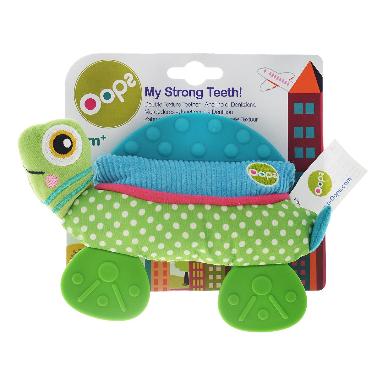 Игрушка-прорезыватель OOPS ЧерепахаO 13002.23Игрушка-прорезыватель OOPS Черепаха станет верным другом для вашего малыша. Прорезыватель выполнен из безопасных текстильных материалов в виде черепахи. Мягкая игрушка оснащена пластиковыми пластинами-прорезыввателями и шуршащими элементами. Прорезыватели помогут крохе снять неприятные ощущения при появлении зубов. Игрушка развивает наглядно-образное мышление и моторику рук.