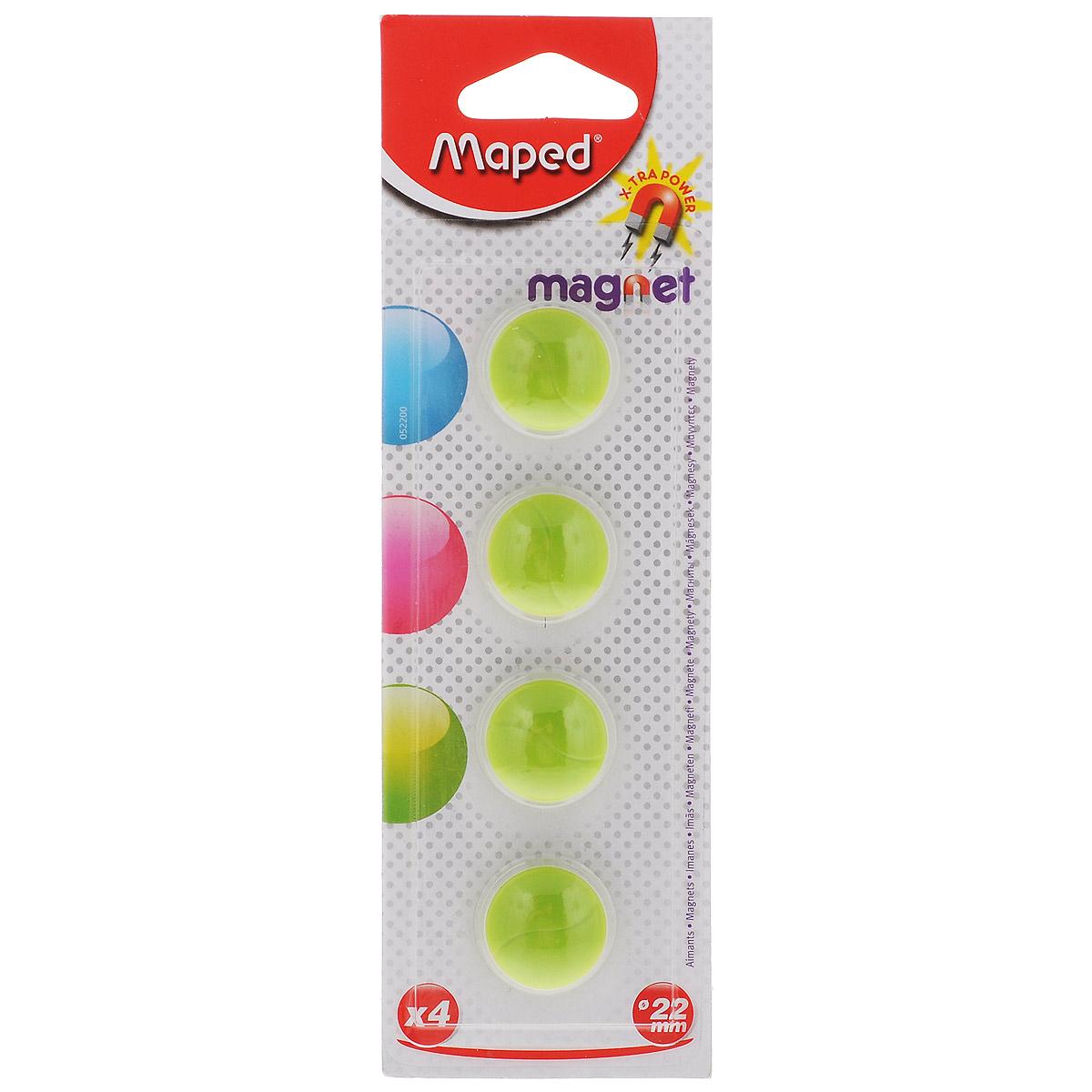 Набор магнитов Maped, цвет: зеленый, 22 мм, 4 шт52200_зеленыйМагниты синего цвета Maped не позволят потерять важную идею при проведении семинаров, мозговых штурмов или презентаций. Выпуклая форма и маленький диаметр делают их удобными при работе с картами или планингами. Они помогут надежно прикрепить листы бумаги на любой железной или стальной поверхности. В наборе 4 магнита зеленого цвета. Рекомендовано детям старше трех лет.