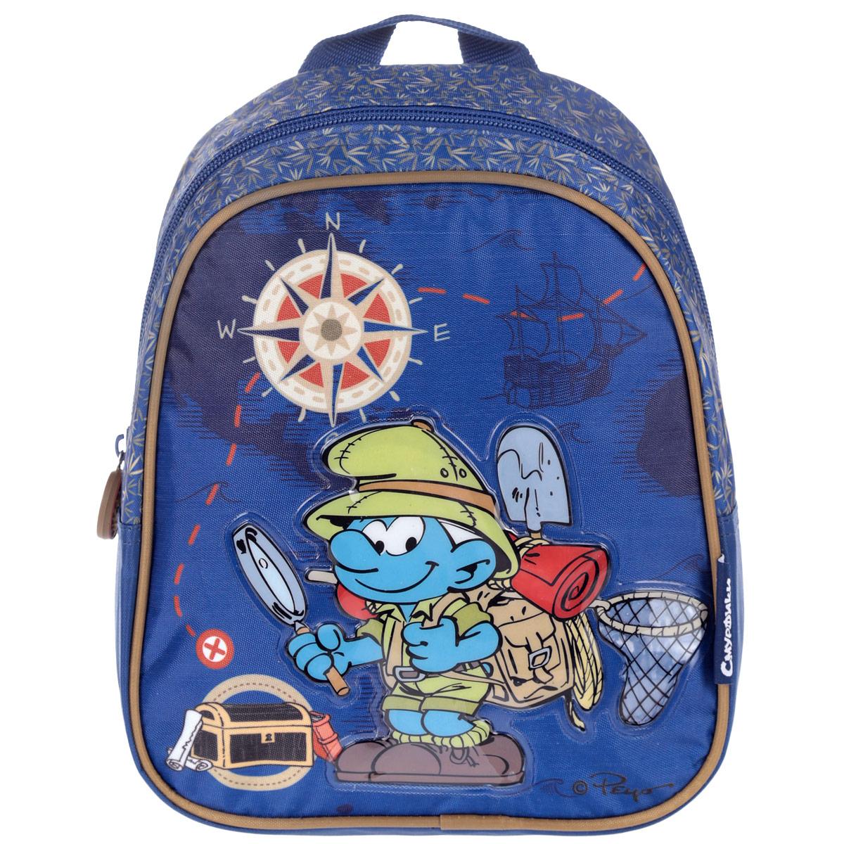Рюкзак-мини Смурфики, цвет: синий25010Рюкзак-мини Смурфики обязательно пригодится вашему ребенку! Он может взять его с собой на прогулку, в гости или в детский сад. Выполнен рюкзак из износоустойчивой ткани с водонепроницаемой основой, что позволяет ему надежно защищать вещи от влаги и верно служить долгое время. Изделие оформлено объемной аппликацией с изображением смурфика. Содержит одно отделение, закрывающееся на застежку-молнию. Бегунок застежки дополнен прорезиненным держателем. Рюкзак оснащен регулируемыми по длине плечевыми ремнями и дополнен текстильной ручкой для переноски. Рюкзак-мини Смурфики порадует глаз и подарит отличное настроение вашему ребенку, который будет с удовольствием носить в нем свои вещи или любимые игрушки.