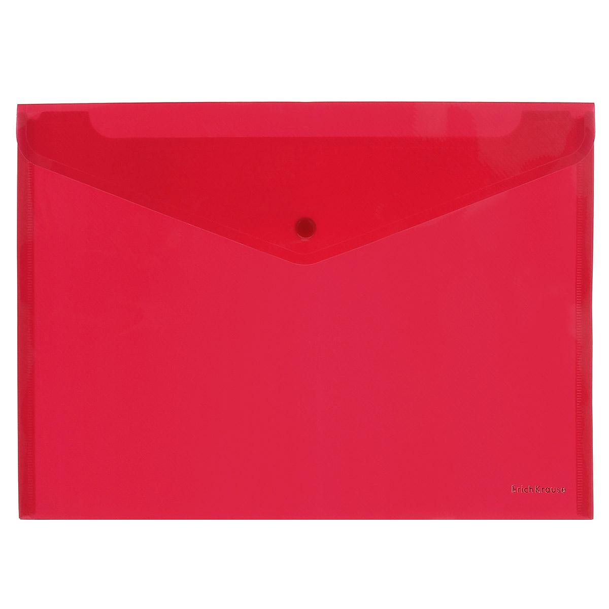 Erich Krause Папка-конверт Envelope Folder цвет красный2932_красныйПапка-конверт на кнопке Erich Krause - удобный и практичный офисный инструмент, предназначенный для хранения и транспортировки рабочих бумаг и документов формата А4. Папка изготовлена из полупрозрачного глянцевого пластика красного цвета с диагональной текстурой, которая надолго сохраняет папку аккуратной и увеличивает срок ее службы. Практичная застежка-кнопка удобна для частого использования и обеспечивает быстрый доступ к документам. С такой папкой ваши документы всегда будут в полном порядке!