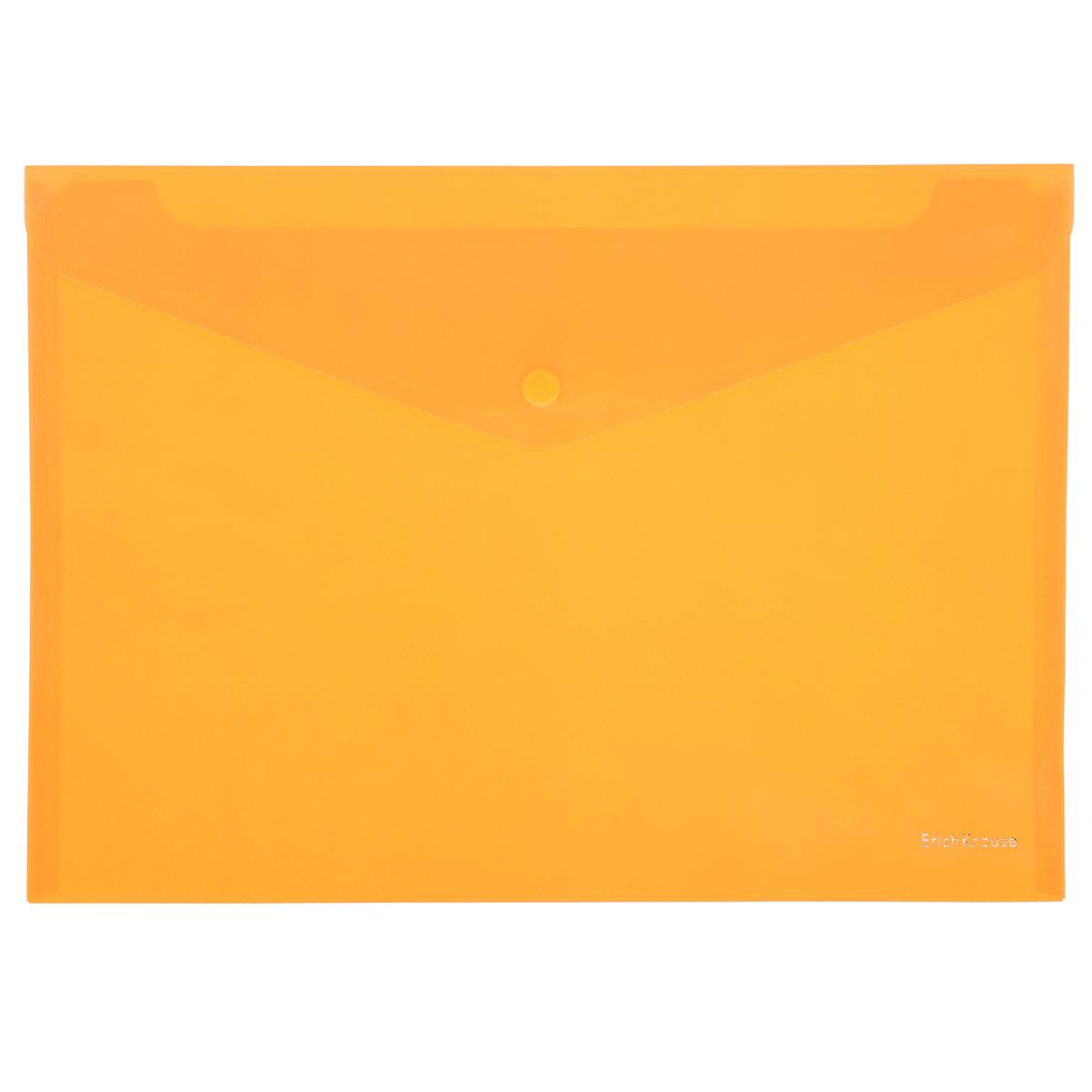 Erich Krause Папка-конверт Envelope Folder цвет оранжевый2932_оранжевыйПапка-конверт на кнопке Erich Krause - удобный и практичный офисный инструмент, предназначенный для хранения и транспортировки рабочих бумаг и документов формата А4. Папка изготовлена из полупрозрачного глянцевого пластика оранжевого цвета с диагональной текстурой, которая надолго сохраняет папку аккуратной и увеличивает срок ее службы. Практичная застежка-кнопка удобна для частого использования и обеспечивает быстрый доступ к документам. С такой папкой ваши документы всегда будут в полном порядке!