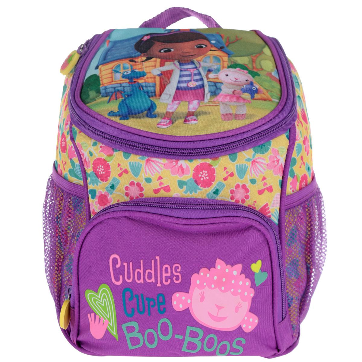 Рюкзак-мини Disney Доктор Плюшева, цвет: фиолетовый. 2494224942Рюкзачок Доктор Плюшева непременно порадует маленькую модницу. В его отделение на молнии легко поместятся игрушки, бутылочка для воды и дрвугие предметы, которые пригодятся на прогулке, в гостях или в детском садике. Лямки рюкзака легко регулируются по длине, поэтому аксессуар подойдет деткам разного роста. Изделие изготовлено из износоустойчивой ткани с водонепроницаемой основой, поэтому имеет долгий срок службы и надежно защищает вещи от намокания. Рюкзачок украшен привлекательным принтом с изображением героев мультфильма Доктор Плюшева. Рюкзак имеет одно внутреннее отделение на молнии, один внешний карман на молнии и два внешних кармана-сетки.