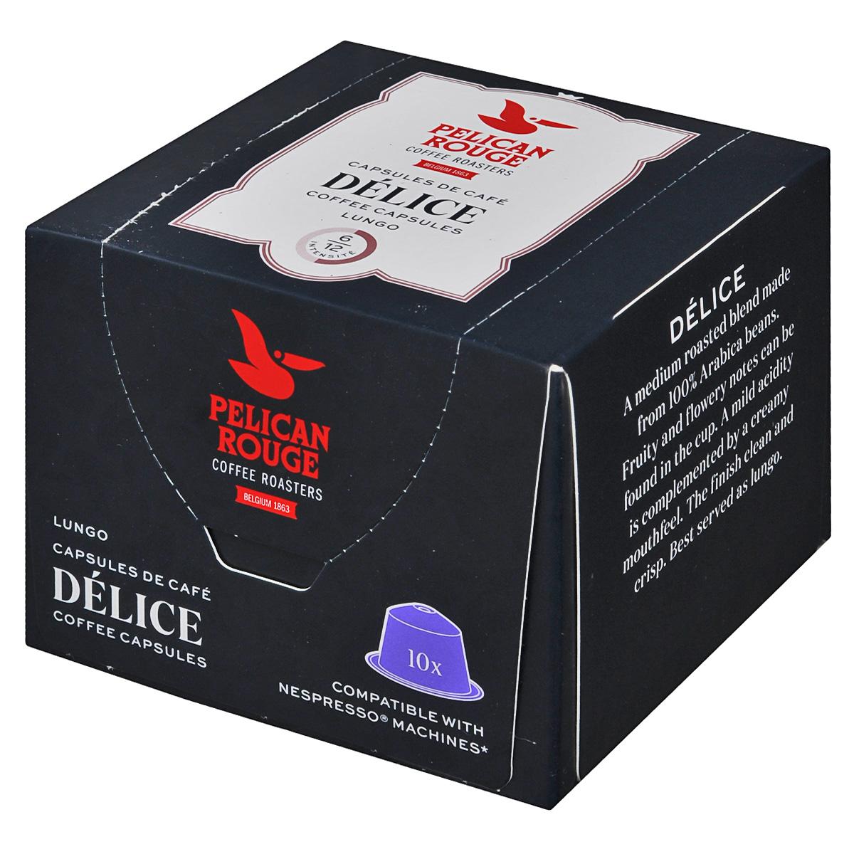 Pelican Rouge Delice кофе в капсулах, 10 шт5410958482004Кофе в капсулах Pelican Rouge Delice имеет утонченный вкус с оттенками карамели. Кофе средней обжарки характеризуется акцентом на фруктовый вкус с легкой кислинкой.