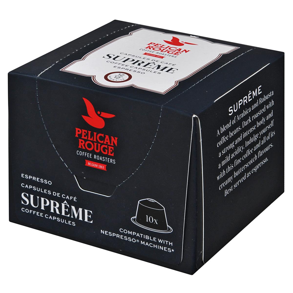 Pelican Rouge Supreme кофе в капсулах, 10 шт5410958432009Темный жареный кофе в капсулах Pelican Rouge Supreme с насыщенным ароматом карамели и с медовым послевкусием. Ароматные зерна для приготовления высочайшего качества эспрессо или капучино.