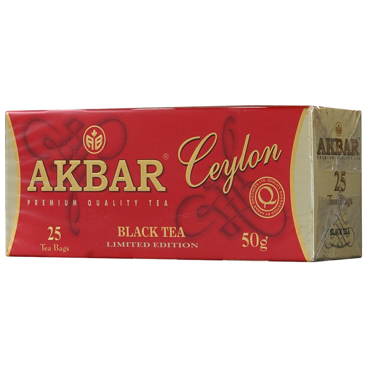 Akbar Ceylon черный чай в пакетиках, 25 шт1041224Для наполнения чайных пакетиков черного чая Akbar Ceylon используют самые мелкие кусочки чайного листа или fannings. Чай из них получается ароматным, с мягким и сочным вкусом, а большая поверхность соприкосновения мелких чаинок с кипятком обеспечивает эффект быстрого заваривания.