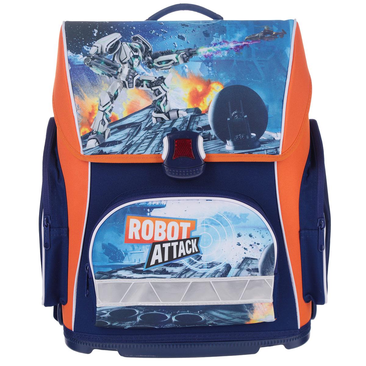 Ранец Hatber Robot Attack, модель Optimum, цвет: синий, оранжевыйNRk_20668Ранец Hatber Robot attack идеально подойдет для школьников! Ранец выполнен из водонепроницаемого, морозоустойчивого, устойчивого к солнечному излучению материала. Изделие оформлено изображением в виде робота. Содержит одно вместительное отделение, закрывающееся клапаном на замок-защелку. Внутри отделения имеется мягкая перегородка для тетрадей, учебников. Клапан полностью откидывается, что существенно облегчает пользование ранцем. На внутренней части клапана находится прозрачный пластиковый кармашек, в который можно поместить расписание занятий. Ранец имеет два боковых кармана, закрывающиеся на молнии. Лицевая сторона ранца оснащена накладным карманом на молнии. Жесткий анатомический каркас и форма спинки способствует равномерному распределению нагрузки и формированию правильной осанки. Конструкция спинки дополнена эргономичными подушечками, противоскользящей сеточкой и системой вентиляции для предотвращения запотевания спины ребенка. Широкие мягкие...