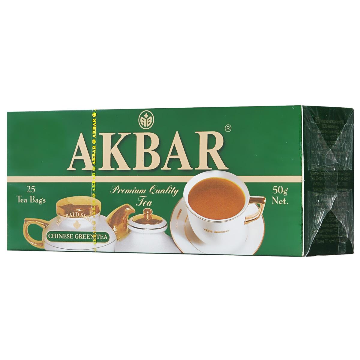 Akbar Изумрудная серия зеленый чай в пакетиках, 25 шт
