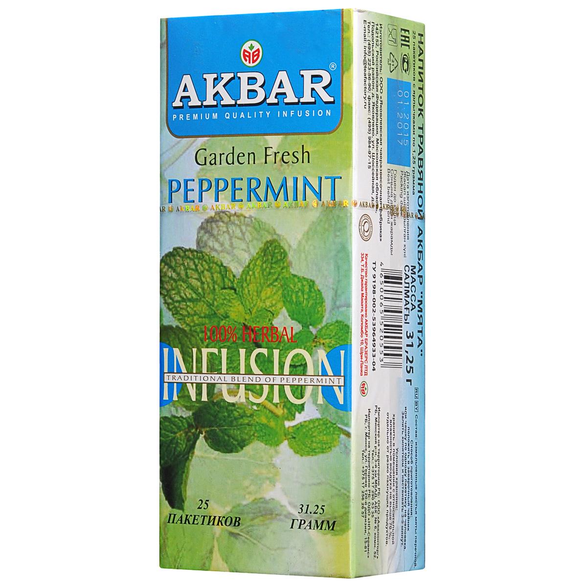 Akbar Мята травяной чай в пакетиках, 25 шт