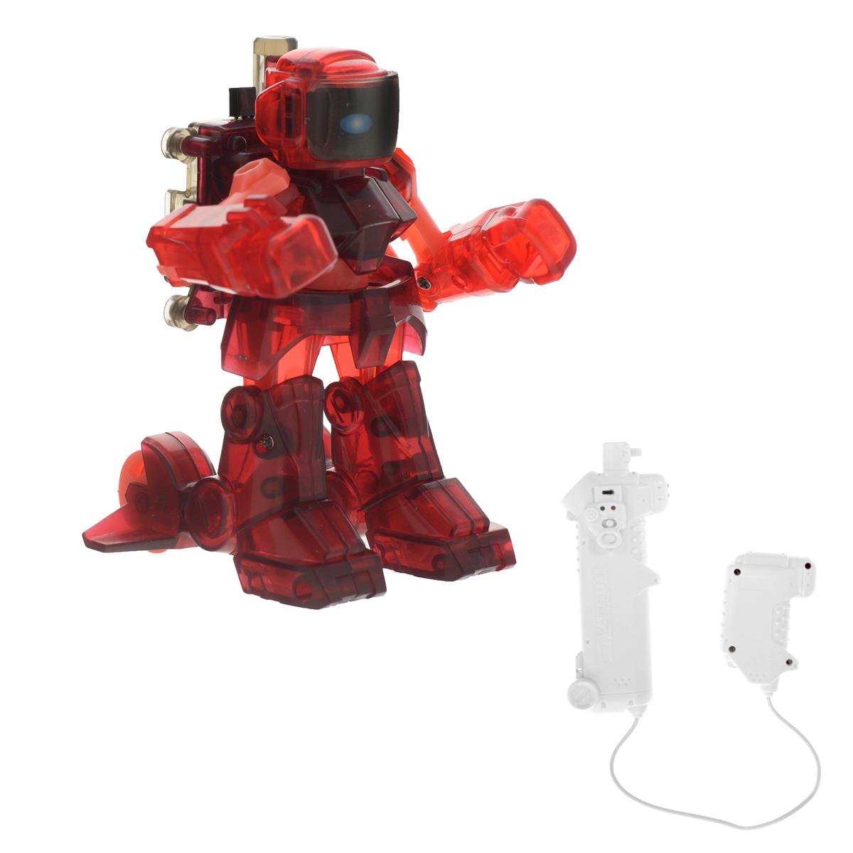 Бойцовский робот Warrior, с инфракрасным управлением, цвет: красный8001Бойцовский робот Warrior, изготовленный из безопасного пластика - это великолепная игрушка, которая понравится как детям, так и взрослым. Робот создан специально для боев. С ним вы можете демонстрировать его способности (демо режим), сражаться с другими роботами, с каждым ударом подрывая здоровье противника (режим сражения), а также гоняться за противниками (режим cалки). Робот управляется с помощью контроллера, который работает от источника инфракрасного излучения. Игрушка оборудована встроенным аккумулятором. В комплект входит лист с наклейками для оформления робота. Контроллер работает от 4 батареек типа AA (в комплект не входят). Дальность действия контроллера: до 5 м. Зарядка игрушки сохраняется: 25 минут.