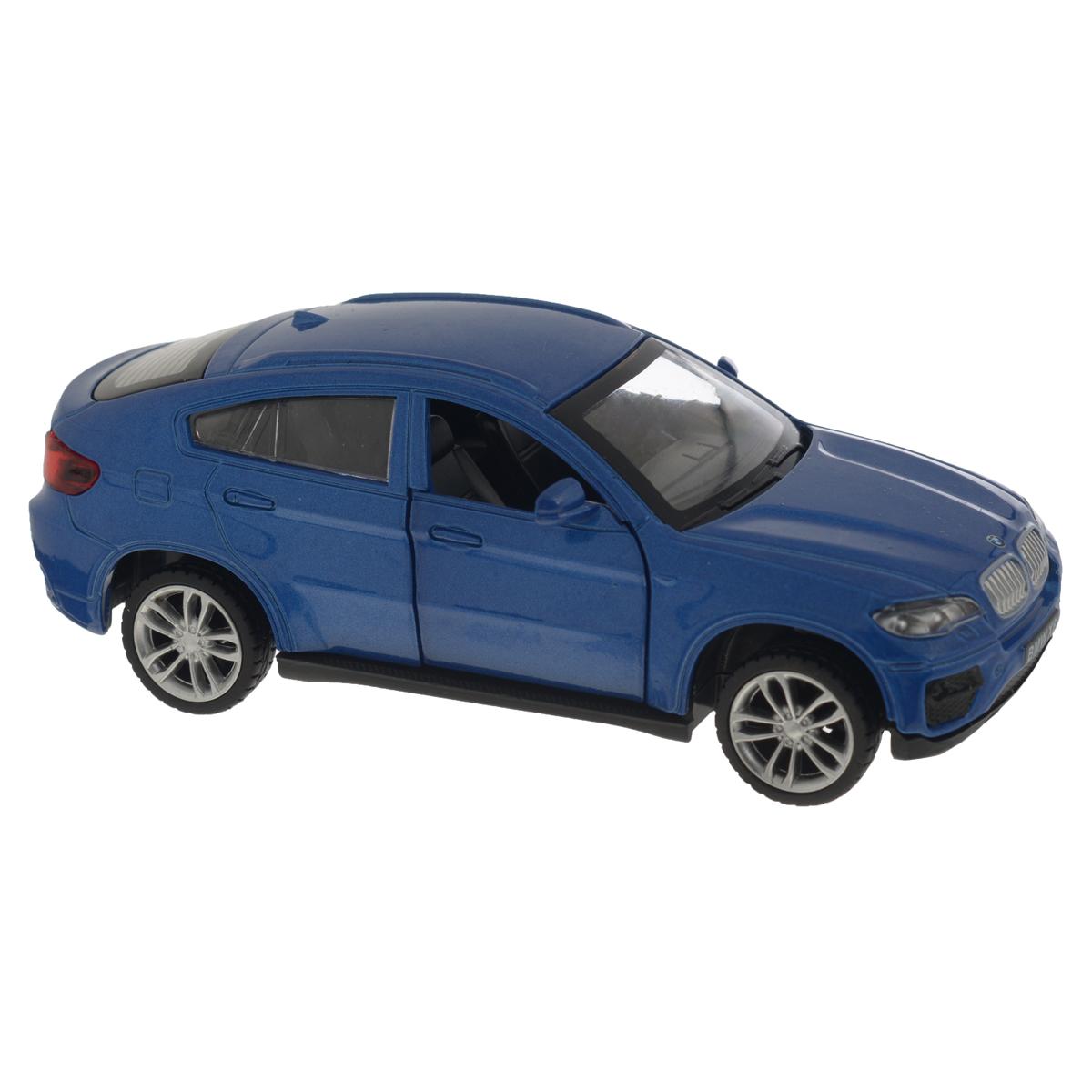 MSZ Модель автомобиля BMW X6 цвет синий67313BСтильная инерционная модель автомобиля MSZ BMW X6, изготовленная из высококачественного металла и пластика, привлечет к себе внимание не только детей, но и взрослых. Модель является точной уменьшенной копией известного автомобиля BMW X6. Игрушечная модель оснащена литым металлическим корпусом, лобовым, задним и боковыми стеклами. Колеса выполнены из резины и вращаются. Открываются передние двери, руль не вращается, салон детализирован. Игрушка оснащена инерционным ходом. Машинку необходимо отвести назад, затем отпустить - и она быстро поедет вперед. Прорезиненные колеса обеспечивают надежное сцепление с любой поверхностью пола. Ваш ребенок будет часами играть с этой машинкой, придумывая различные истории. Порадуйте его таким замечательным подарком!