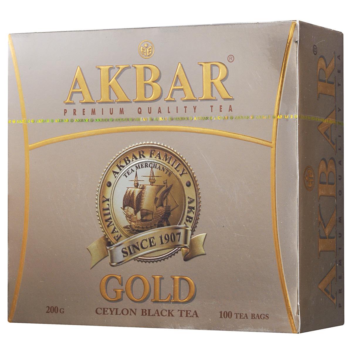 Akbar Gold черный чай в пакетиках, 100 шт 1041131