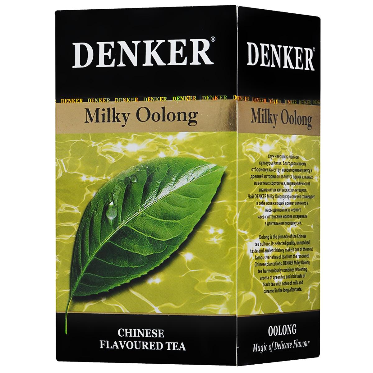 Denker Milky Oolong зеленый ароматизированный чай в пакетиках, 20 шт1080010Чай Denker Milky Oolong гармонично совмещает в себе освежающий аромат зеленого и насыщенный вкус черного чаев с оттенками молока и карамели в длительном послевкусии. Улун - вершина чайной культуры Китая. Благодаря своему отборному качеству, неповторимому вкусу и древней истории он является одним из самых известных сортов чая, выращиваемых на знаменитых китайских плантациях.