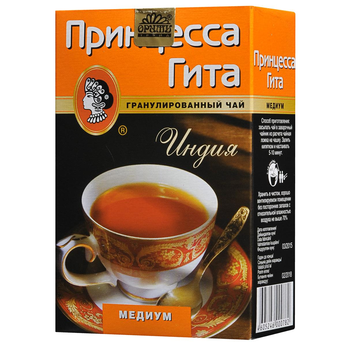 Принцесса Гита Медиум черный гранулированный чай, 100 г0078-80Принцесса Гита Медиум - это черный гранулированный Южно-Индийский чай с интенсивным цветом настоя и умеренной терпкости. Заваривается в течение нескольких секунд, экономичен.