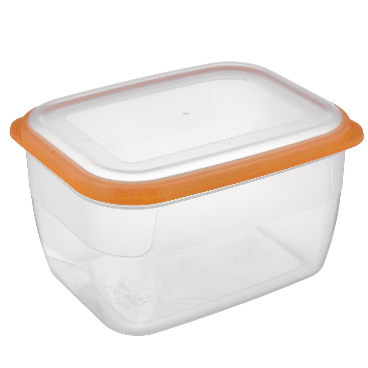 Контейнер Полимербыт Премиум, цвет: прозрачный, оранжевый, 2,4 лС563 оранжевыйКонтейнер Полимербыт Премиум прямоугольной формы, изготовленный из прочного пластика, предназначен специально для хранения пищевых продуктов. Крышка легко открывается и плотно закрывается. Контейнер устойчив к воздействию масел и жиров, легко моется. Прозрачные стенки позволяют видеть содержимое. Контейнер имеет возможность хранения продуктов глубокой заморозки, обладает высокой прочностью. Можно мыть в посудомоечной машине. Подходит для использования в микроволновых печах.