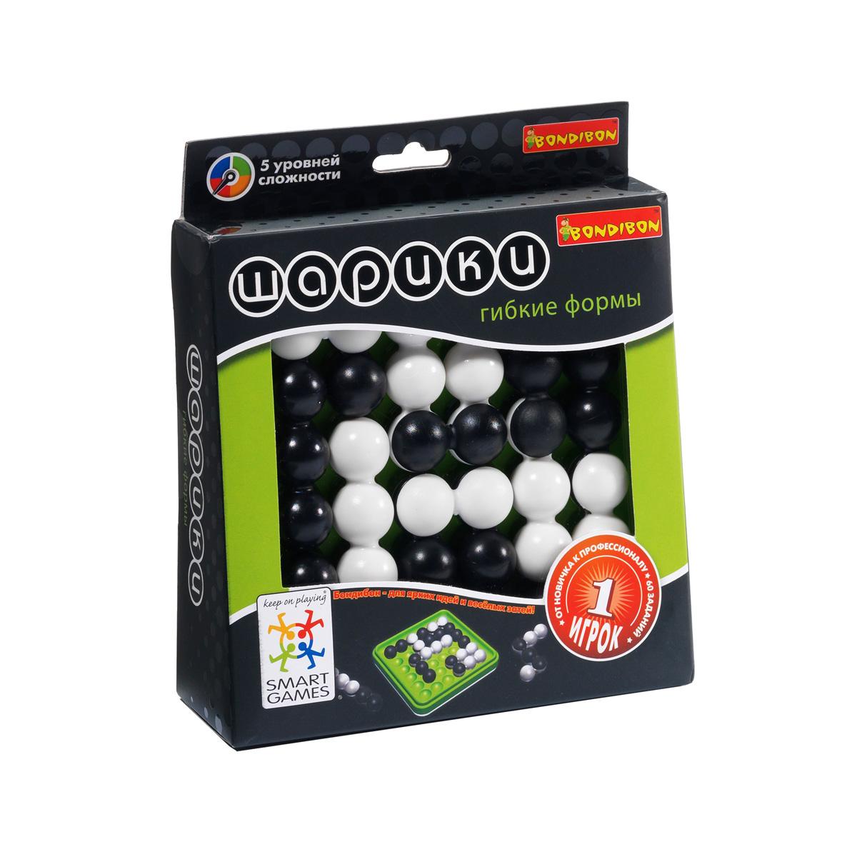 Логическая игра Bondibon SmartGames ШарикиВВ0898Логическая игра Bondibon SmartGames Шарики- это отличное интеллектуальное развлечение. Задача игрока - расположить на игровом поле черные и белые шарики таким образом, чтобы получившийся рисунок совпал с заданием. Монохромные черно-белые шарики, как живые, меняют форму и положение в пространстве, и вам придется немало потрудиться, чтобы соединить их. Игра имеет 5 уровней сложности. Решать эту логическую головоломку могут и дети, и взрослые. Погрузитесь в абстрактный черно-белый мир волшебных шариков вместе со своим ребенком! И не забывайте, что помимо очевидной пользы для интеллектуального развития ребенка, вы прекрасно проведете время! В комплект входят: буклет с 60 заданиями с ответами, игровое поле, 6 элементов с шариками, правила игры на русском языке. Игра развивает логическое мышление, скорость принятия решений, мелкую моторику, а также тренирует память.