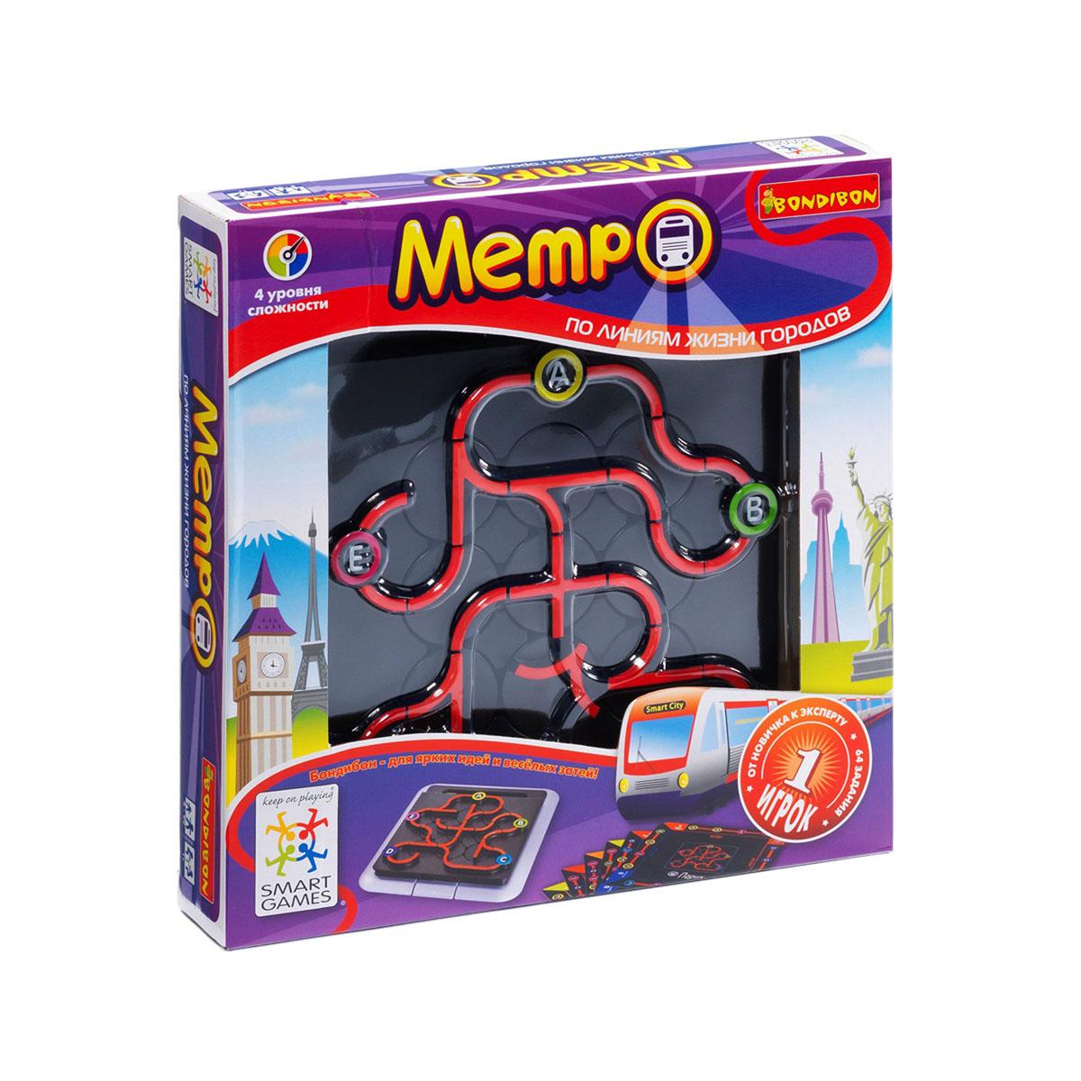 Логическая игра Bondibon SmartGames МетроВВ0846Ты сможешь создать собственный метрополитен в твоем любимом городе, и тебе не придется копать для этого землю. Расположи детали железнодорожной колеи на игровом поле таким образом, чтобы поезд метро смог проследовать через все станции, указанные в карточке с заданием. Схема движения поездов в метро разрабатывается с учетом определенных правил. Назови станции, как тебе захочется и не сбейся с маршрута! Логическая игра Bondibon SmartGames Метро - идеальная дорожная игра для детей и взрослых, играть в которую можно и в автомобиле, и в метро, и на поезде, и на природе! В игре 64 захватывающих логических задания, от самого простого до высшего уровня. Удобная игровая доска с отделением для хранения карточек с заданиями и правил игры. Игра имеет 4 уровня сложности. С ее помощью можно развить логическое мышление и познавательные способности, социальное развитие, концентрацию внимания, тренировку памяти, фантазию и мелкую моторику. В комплект игры входит: игровая доска с...