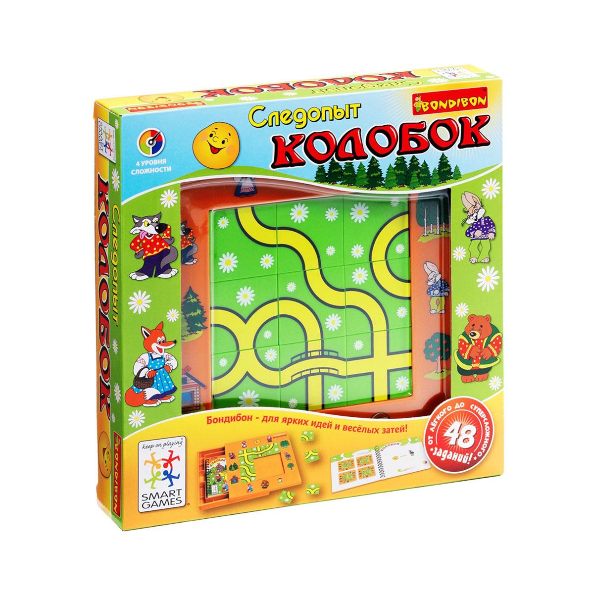 Логическая игра Bondibon SmartGames Следопыт КолобокВВ0518Логическая игра Bondibon SmartGames Следопыт Колобок - это увлекательная игра с любимыми героями. Сказка про Колобка - одна из тех русских народных сказок, которые читают ребенку первой. А рассказывает она о том, как бабка испекла деду мучной пончик - колобок, а тот ожил, да и сбежал, но участи быть съеденным не избежал. Помните, как Колобку на пути встречаются Заяц, Медведь, Волк, Лиса? А что, если дороги могли бы пересечься не в том порядке, и отношения между героями могли сложиться по-другому, да и конец сказки мог стать совсем иным? Может быть, они могли подружиться? Создавайте свою историю и помогите любимому сказочному персонажу найти верную дорогу среди множества путей в этой интересной логической игре! Расставьте 9 пазлов на игровой доске, проведя извилистую тропинку между персонажами, указанными в задании на карточке. Внимательно следите за дорогой, чтобы не зайти в тупик. 48 различных заданий 4 уровней сложности, сотни вариантов их решения - эта развивающая...