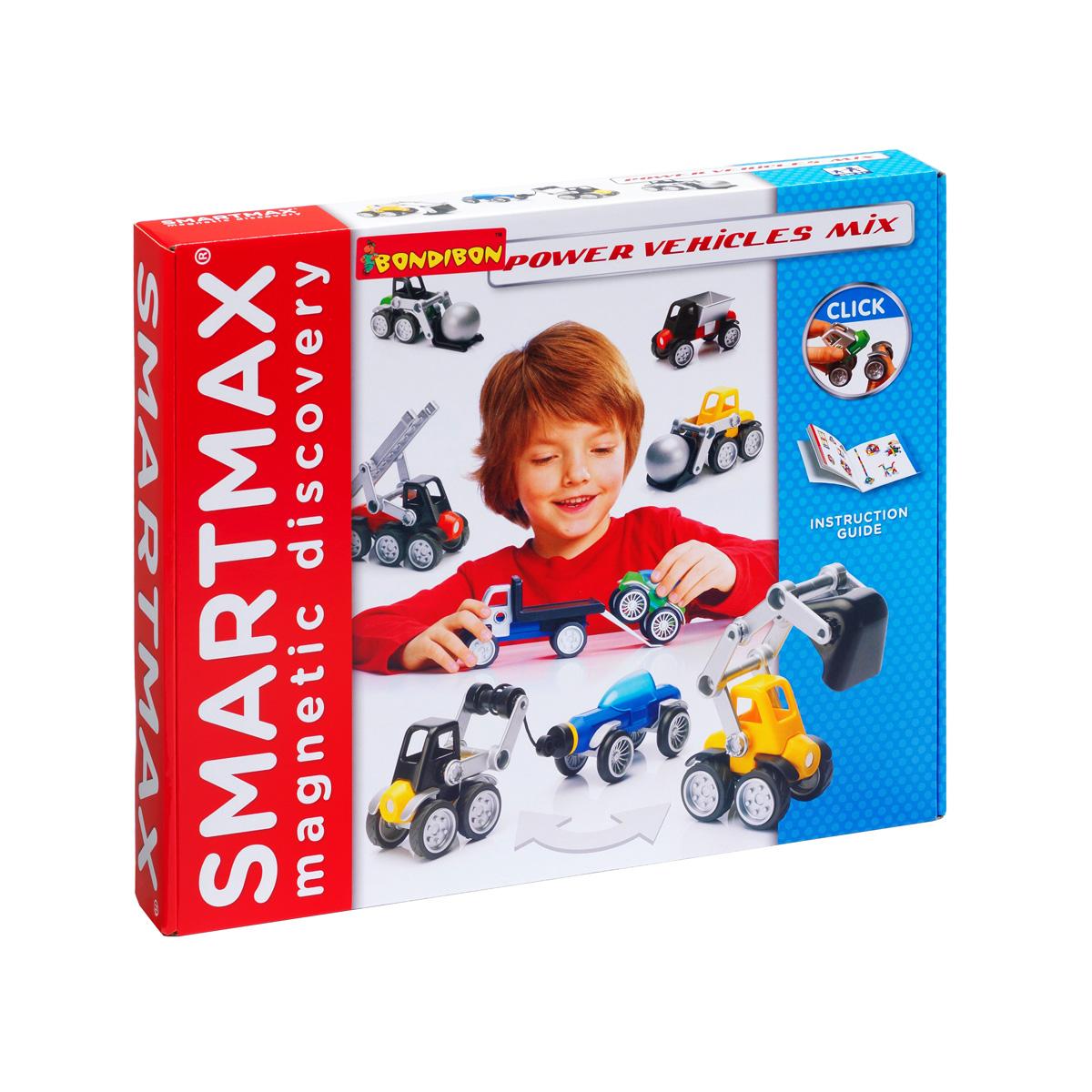 Bondibon Конструктор магнитный Smartmax Мощная техникаВВ0909Магнитный конструктор Bondibon Smartmax Специальный набор: Мощная техника непременно придется по душе вашему ребенку и займет его внимание надолго. В комплект входят 26 элементов, из которых ребенок сможет собрать бульдозер, пожарную машину, погрузчик, эвакуатор, внедорожник-пикап или минивэн. Кабины, ковши, колеса и другие элементы машины легко крепятся на магнитных палочках конструктора. Легкие и удобные для детской ручки детали изготовлены из качественного цветного пластика, безопасного для здоровья. Внутри некоторых элементов расположены надежно запаянные магниты. Конструктор совместим с другими наборами данной серии, так что ребенок сможет не только собирать предложенные модели, но и придумывать свои собственные. Игра с конструктором развивает у детей мелкую моторику, усидчивость, воображение, пространственное и образное мышление.