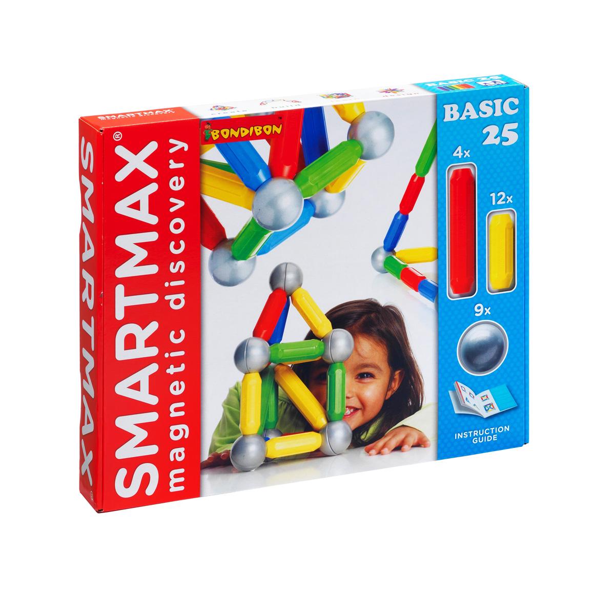 Bondibon Конструктор магнитный Smartmax Основной наборВВ0869-1Магнитный конструктор Bondibon SmartMax - это яркая и увлекательная игра, которая обязательно понравится вашему ребенку. Конструктор включает 25 элементов, из которых можно построить дома, мосты, башни и иные сооружения, а прилагаемая инструкция по сборке всегда будет подспорьем при возникновении сложностей. Все составляющие выполнены из высококачественного пластика, внутри которого надежно запаяны магниты. Элементы конструктора имеют большие размеры, различную геометрическую форму, красочную расцветку, и их удобно держать в руке. Конструктор совместим с другими наборами данной серии, благодаря чему можно постоянно совершенствовать свои конструкции. Игра с конструктором развивает мелкую моторику, внимание, фантазию, пространственное и образное мышление. Учит сосредотачиваться на интеллектуальных задачах и усидчивости.