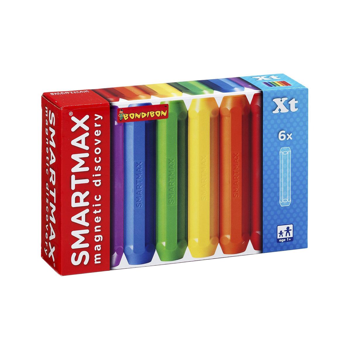 Bondibon Smartmax Конструктор магнитный Дополнительный набор ВВ0875ВВ0875Магнитный конструктор Bondibon SmartMax - это развивающая игра, которая будет интересна деткам от одного года и старше. Набор включает 6 длинных палочек, с помощью которых можно собрать фигуры необычной конструкции, а соединив несколько подобных моделей, пределам конструирования не будет предела. Все составляющие выполнены из высококачественного пластика, внутри которого надежно запаяны магниты, исключающие выпадение из своей оболочки. Все элементы имеют яркую расцветку, и их удобно держать в руке, что очень актуально для детишек еще со слаборазвитой моторикой. Элементы легко соединяются между собой по разноименным полюсам, а по одноименным - отталкиваются, демонстрируя детям принципы разнополярности. Такой конструктор обязательно увлечет ребенка игрой и с ним ваш малыш будет занят полезным и интересным делом. Конструктор является дополнительной моделью, которая совместима с другими наборами серии Bondibon SmartMax. Игра с конструктором развивает мелкую моторику,...