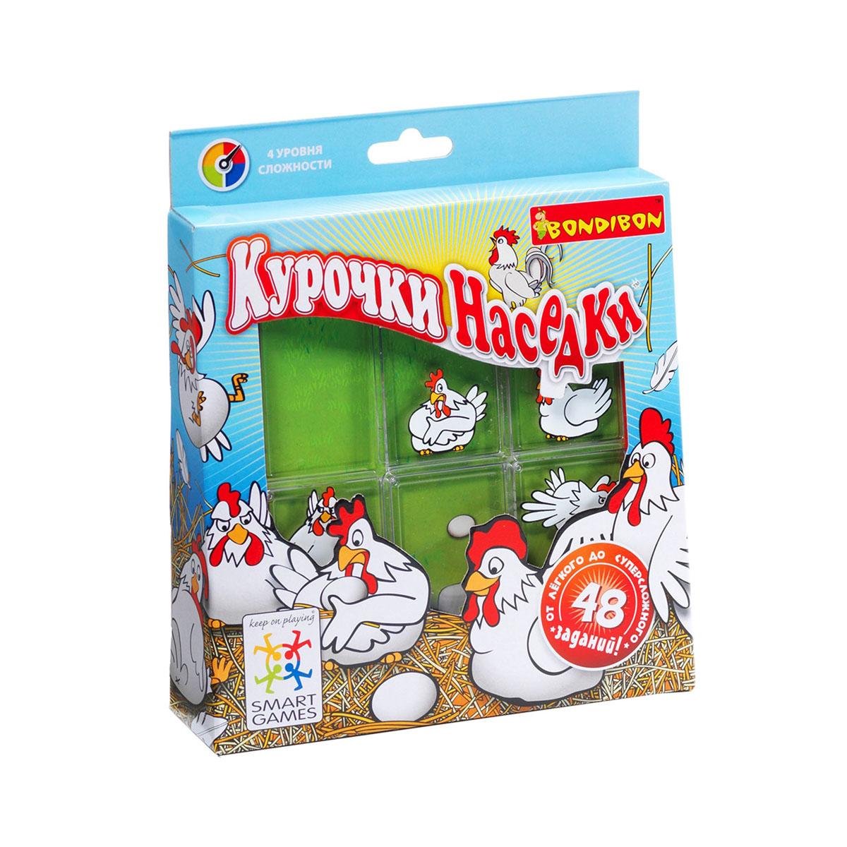 Логическая игра Bondibon SmartGames Курочки НаседкиВВ0842Веселые белые курочки-наседки разбежались по всей ферме. Они хотят высиживать цыплят, но не могут без вашей помощи найти своих малышей: ведь они снесли одинаковые яйца! Чтобы помочь наседкам, вам предстоит перемещать куриц по всему игровому полю, пока каждая из них не найдет свое собственное яйцо. Всего 48 заданий и 4 уровня сложности. В комплект входят: 24 карточки с заданиями, игровая доска с отделением для хранения карточек. Логическая игра Bondibon SmartGames Курочки Наседки - отличный вариант семейного досуга!