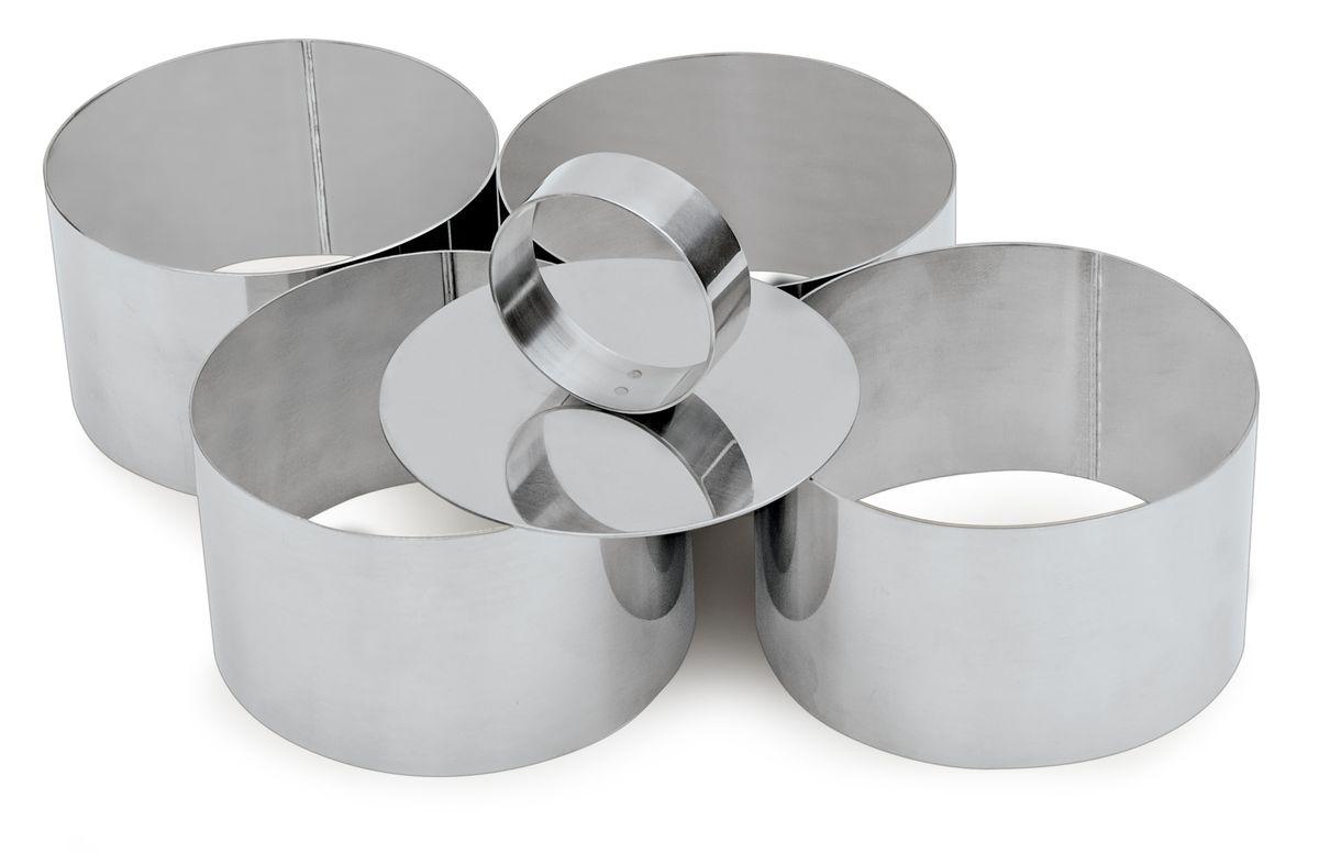 Набор форм для вырезания печенья Iris Cuinox, с выталкивателем, 4 шт3104-4IНабор Iris Cuinox состоит из 4 круглых форм для вырезания печенья, выполненных из высококачественной нержавеющей стали. С такими формами-резаком можно сделать множество круглых кондитерских изделий. И кушать это будет так весело! Можно использовать для создания печенья, сладких украшений, бутербродов, как трафарет для украшений из бумаги и других материалов. В комплекте - металлический выталкиватель для удобного извлечения содержимого из форм. Диаметр форм: 7,4 см. Высота форм: 5 см. Размер выталкивателя: 7,3 х 7,3 х 3,7 см.