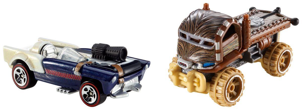 Hot Wheels Star Wars Набор машинок Chewbacca и Han SoloCGX02_CGX03_CGX03Машинки Hot Wheels Chewbacca и Han Solo непременно приведут в восторг вашего малыша. Игрушки изготовлены из высококачественного пластика с элементами из металла в стиле любимых персонажей легендарной саги Звездные воины. Колесики машинок вращаются. Ваш ребенок будет часами играть с этими машинками, придумывая различные истории. Порадуйте его таким замечательным подарком.