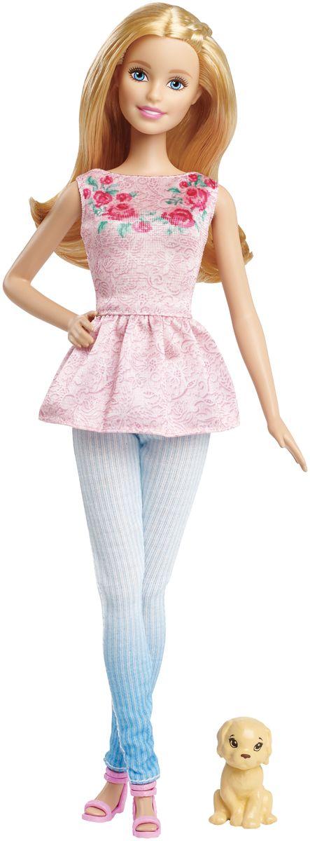 Barbie Кукла Барби со щенкомCLF96_CLF97Великолепная кукла Barbie Барби порадует вашу малышку и доставит ей много удовольствия от часов, посвященных игре с ней. Кукла одета в розовую кофточку, украшенную розами и в голубые штаны. На ногах у Барби - розовые босоножки. Вашей дочурке непременно понравится расчесывать и заплетать длинные светлые волосы куклы. В комплект с Барби входит щенок. Порадуйте свою малышку таким великолепным подарком!