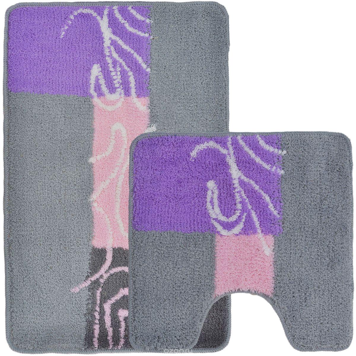 Набор ковриков для ванной Home Queen, цвет: серый, розовый, сиреневый, 2 шт55010Набор Home Queen состоит из двух ковриков для ванной комнаты: прямоугольного и с вырезом. Коврики изготовлены из полиэстера и акрила. Это экологически чистый, быстросохнущий, мягкий и износостойкий материал. Красители устойчивы, поэтому рисунок не потеряет цвет даже после многократных стирок в стиральной машине. Благодаря латексной основе коврики не скользят на полу. Можно использовать на полу с подогревом. Яркий дизайн позволит оформить ванную комнату по вашему вкусу. Размер ковриков: 80 см х 50см; 50 см х 50 см. Высота ворса: 1,5 см.