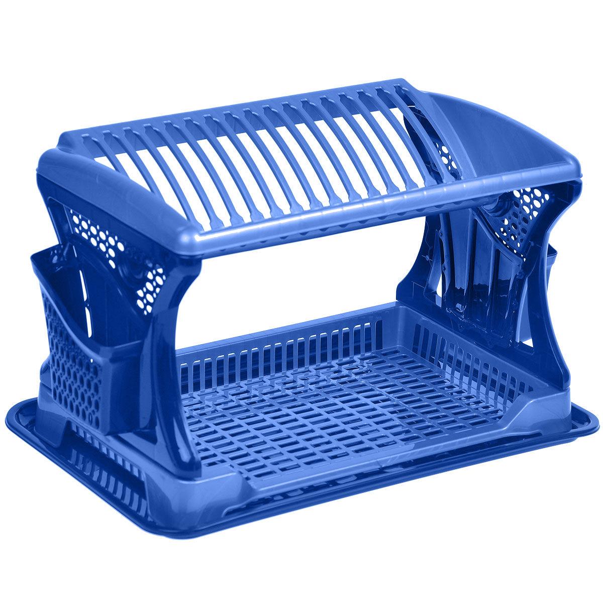 Сушилка для посуды Dunya Plastik Katli Tabaklik, 2-ярусная, цвет: синий, голубой, 30 х 46 х 29 см7201 синий, голубойСушилка Dunya Plastik Katli Tabaklik выполнена из прочного пластика и оснащена поддоном и двумя подставками для приборов. Изделие комплектуется двумя ярусами: верхний ярус - для тарелок, нижний ярус - для кружек, мисок и других предметов. Благодаря своей функциональности, сушка для посуды Dunya Plastik Katli Tabaklik займет достойное место на вашей кухне и будет очень полезна любой хозяйке. Стильный, современный и лаконичный дизайн сделает сушку прекрасным дополнением интерьера вашей кухни. Сушилку для посуды можете установить в любом удобном месте. Компактные размеры и оригинальный дизайн выделяют сушку из ряда подобных. Размер поддона: 46 см х 30 см х 2,5 см. Размер подставки для приборов: 16 см х 3,5 см х 13 см.