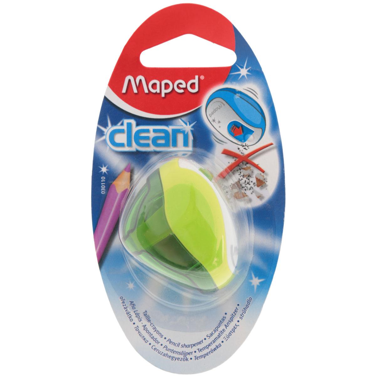 Точилка Maped Clean, с контейнером, цвет: салатовый30110_салатовыйТочилка Maped Clean с прозрачным ударостойким контейнером на одно отверстие. Точилка представлена в яркой цветовой гамме. С точилкой Maped Clean не будет никаких опилок в пенале. Они легко поместятся в объемный контейнер, а отверстие над режущим конусом надежно защищено крышкой, открывающейся при нажатии.