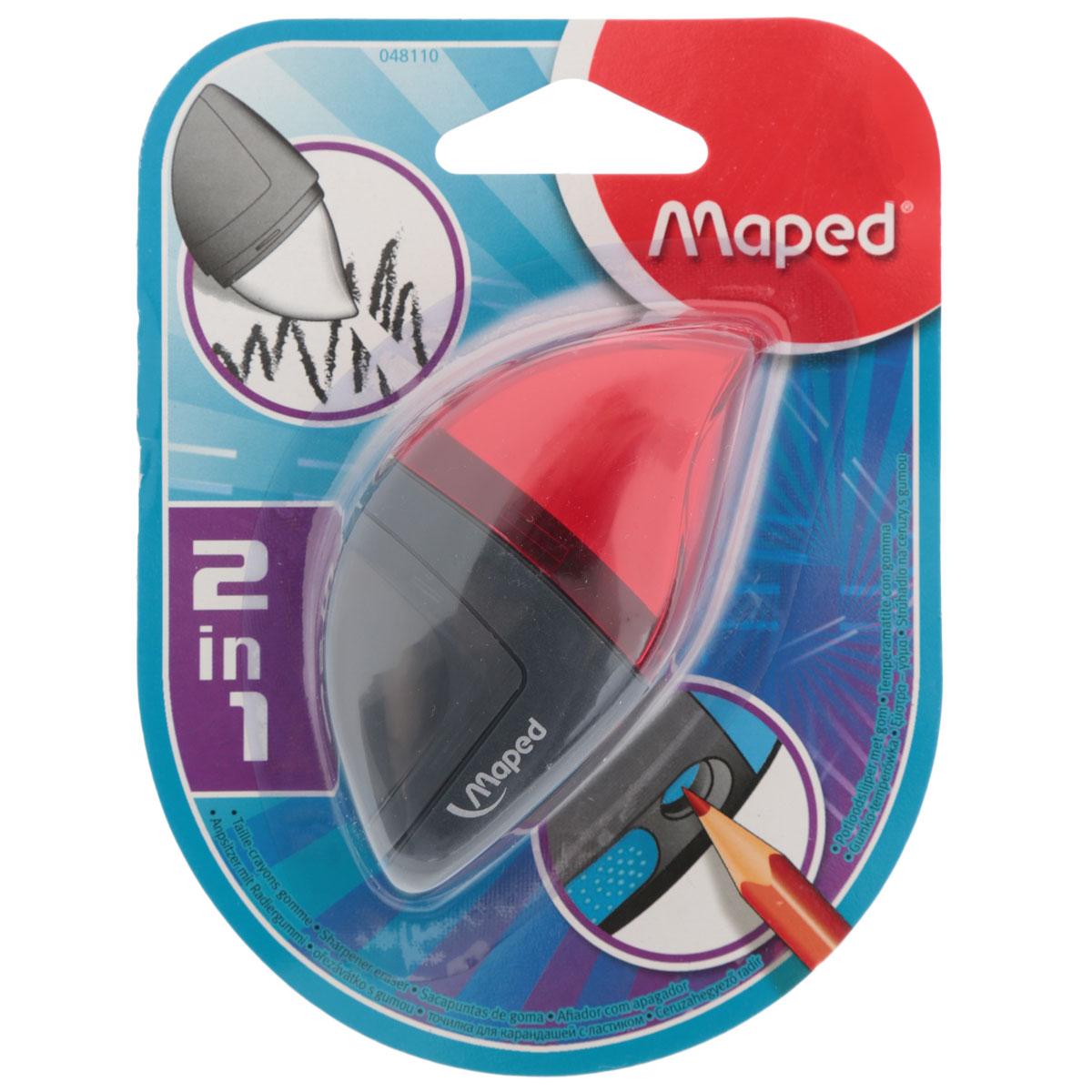Точилка Maped Moondo, с ластиком, цвет: красный48110_красныйУдобная точилка в оригинальном пластиковом корпусе с крышкой Maped предназначена для затачивания карандашей. Острое стальное лезвие обеспечивает высококачественную и точную заточку. Карандаш затачивается легко и аккуратно, а опилки после заточки остаются в специальном контейнере. Точилка снабжена ластиком, закрывающимся колпачком.