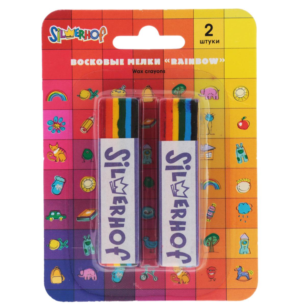 Мелки восковые Silwerhof Rainbow. Emotions, водоустойчивые, 2 шт884042-02Восковые яркие мелки Rainbow. Emotions предназначены для рисования на бумаге, картоне, стекле, пластике и керамике. Предоставляют увлекательное занятие для малыша во время творчества, особенно на темной бумаге. В наборе 2 мелка, окрашенных в цвета радуги: бордовый, оранжевый, желтый, зеленый, голубой, черный. На каждом из них бумажный держатель, который помогает удержать восковой мелок во время рисования. Рекомендовано для детей старше 3-х лет.