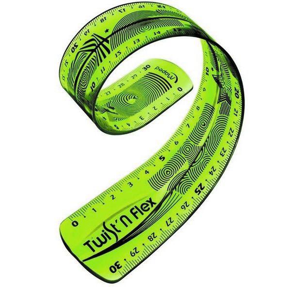 Линейка Maped Twistnflex, гибкая, цвет: зеленый, 30 см27900 зеленыйЛинейка Maped Twistnflex - это неломающаяся линейка, которую можно сгибать и скручивать неограниченное количество раз. После непродолжительного времени принимает первоначальную форму и не деформируется. Можно использовать как антистресс.