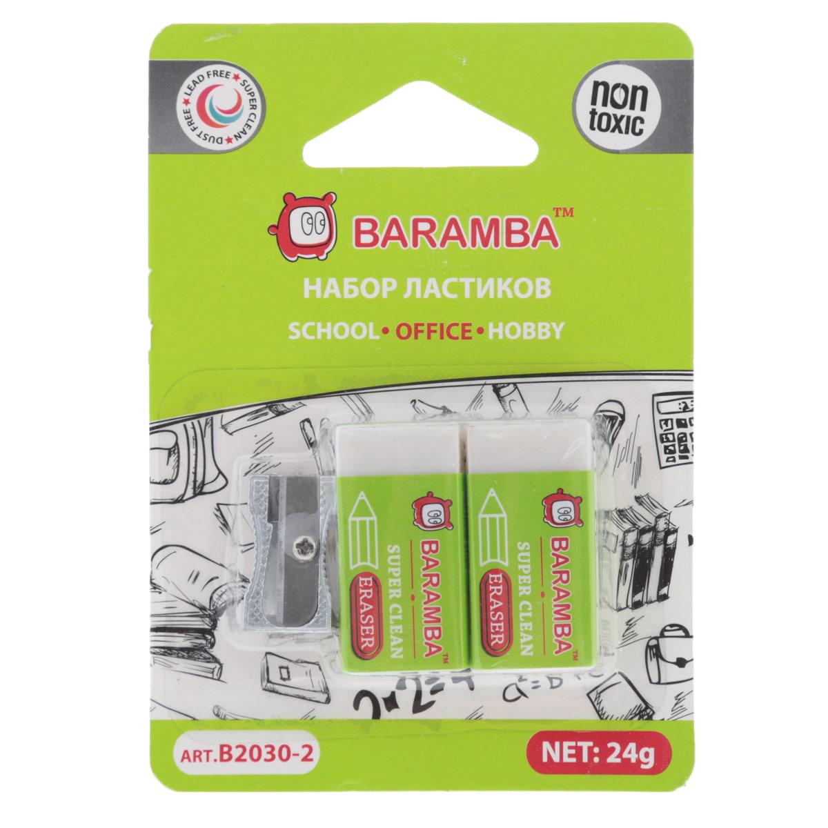 Набор ластиков Baramba Dust Free, с точилкойB2030-2Набор Baramba Dust Free идеально подходят для применения как в школе, так и в офисе. Обеспечивают высокое качество коррекции, не повреждают поверхность бумаги, даже при сильном трении, не оставляют следов. Каждый ластик имеет бумажную рубашку и индивидуальный полиэтиленовый конвертик. Набор дополнен металлической точилкой. Абсолютно безопасны, не токсичны и экологичны. Рекомендовано для детей старше 3-х лет.