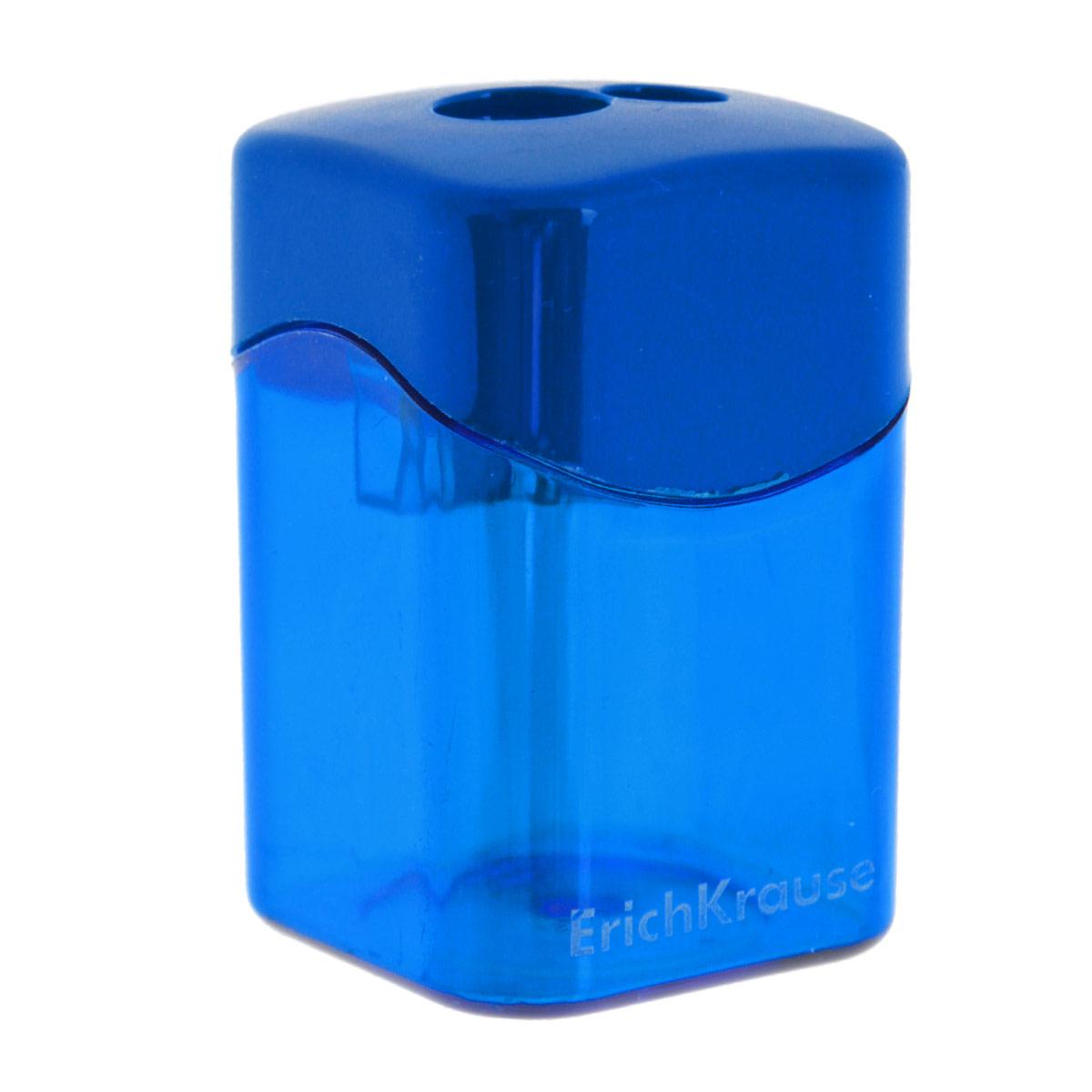 Точилка Erich Krause, с 2 отверстиями, цвет: синий21835_синийТочилка Erich Krause с двумя отверстиями для заточки стандартных и утолщенных карандашей, выполнена из ударопрочного пластика с лезвием из высококачественной стали. Полупрозрачный контейнер для сбора стружки повышенной вместимости позволяет визуально контролировать уровень заполнения и вовремя произ водить очистку.