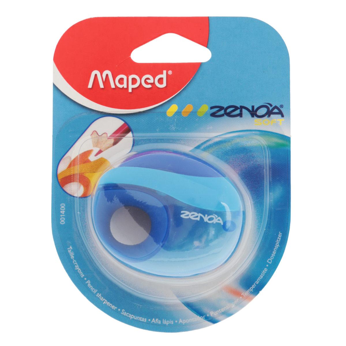 Точилка Maped Zenoa, с контейнером, цвет: синий1400_синийТочилка Zenoa выполнена из ударопрочного пластика. Имеется мягкий держатель для пальцев. Закрывается автоматически после использования, чтобы избежать попадания крошек графита в пенал. Полупрозрачный контейнер для сбора стружки позволяет визуально контролировать уровень заполнения и вовремя производить очистку.