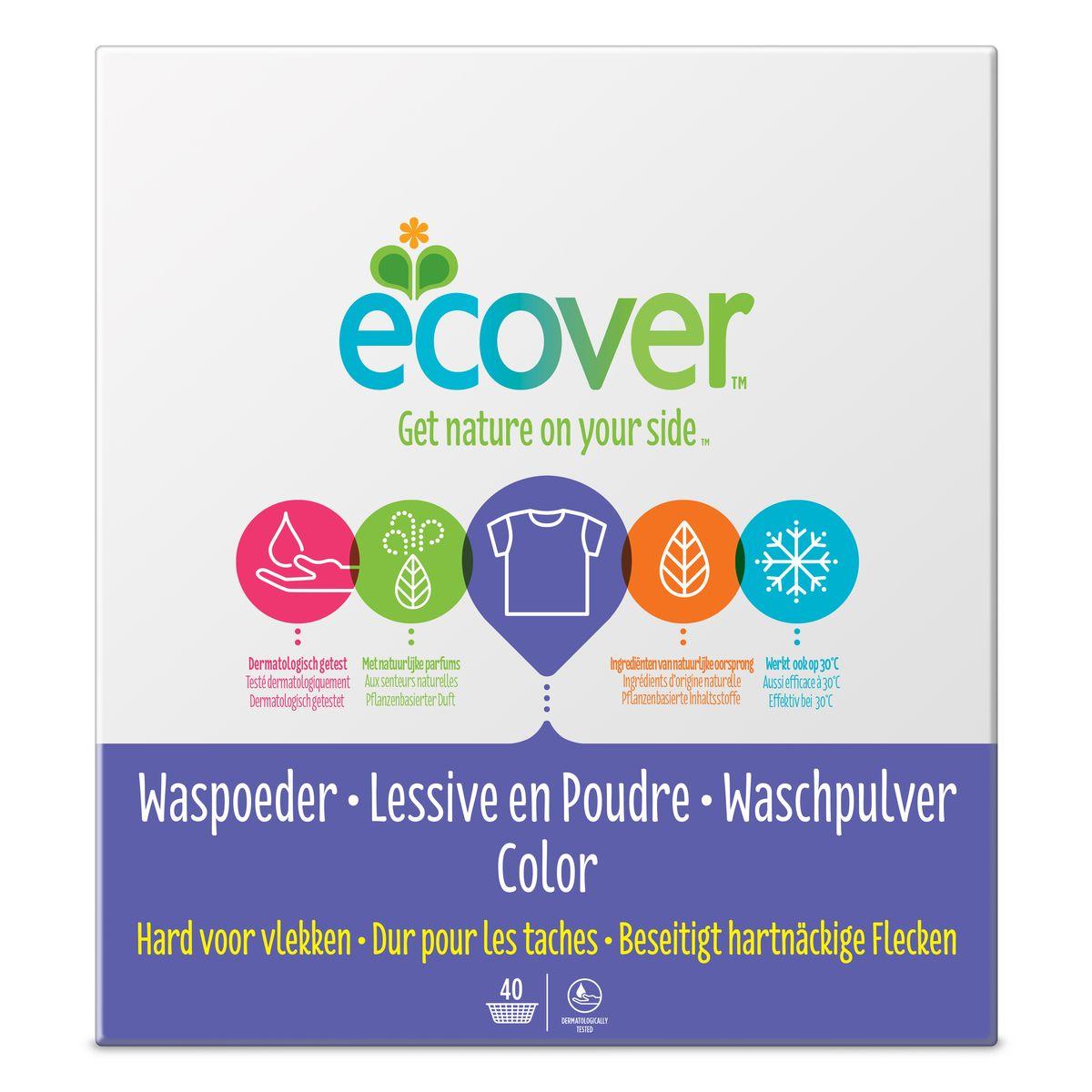 Экологический стиральный порошок Ecover, концентрат, для цветного белья, 3 кг40023Очень эффективный стиральный порошок-концентрат Ecover предназначен для стирки цветного белья. Подходит к использованию для детей от 2-х лет и взрослых. Порошок создан на основе растительных ПАВ. Улучшенная формула содержит небольшое количество бережного кислородного отбеливателя для удаления таких загрязнений как пятна от вина, фруктов, травы и т.д. Прекрасно выполаскивается. Новая формула средства позволяет использовать меньше порошка и обеспечивает на 25% больше стирок! При машинной стирке не требуется добавление средств для смягчения воды и предотвращения образования накипи (типа Calgon). Обладает легким натуральным ароматом. Не содержит фосфатов и синтетических ароматизаторов. Содержит энзимы (не ГМО) и натуральный кислородный отбеливатель. Подходит для использования в домах с автономной канализацией. Не наносит вреда любым видам септиков! Характеристики: Состав: 15-30% анионные био-ПАВ цеолиты, 5-15% неионные ПАВ, силикат натрия, карбонат натрия,...