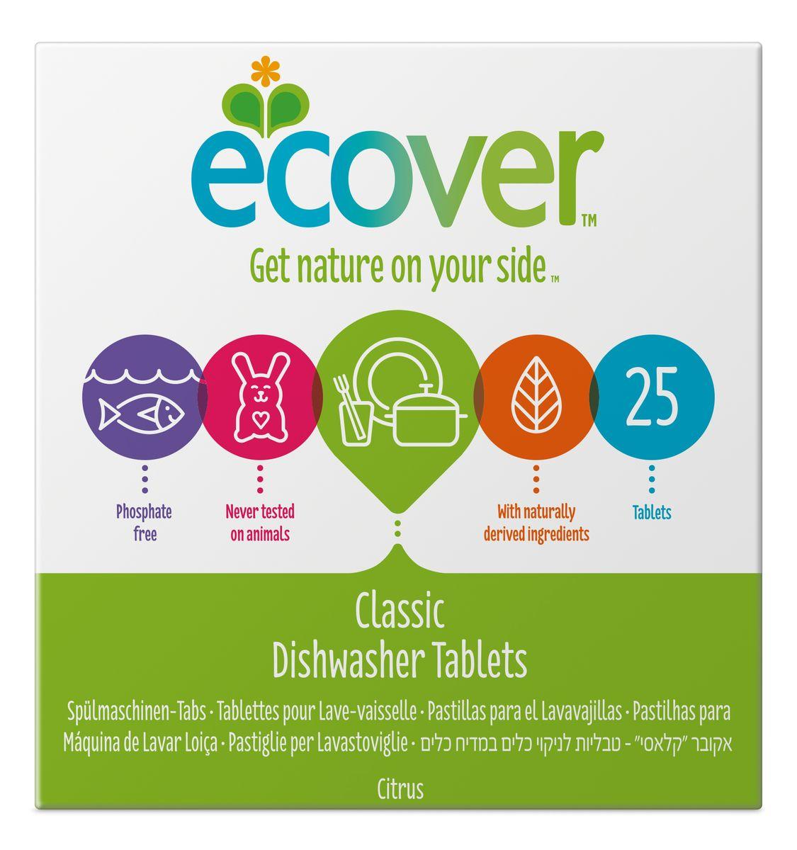 Экологические таблетки для посудомоечной машины Ecover, 25 шт00259Эффективное и экологически чистое средство Ecover для автоматического мытья посуды. Прекрасно удаляет загрязнения и жиры, оставляя посуду чистой и придавая ей блеск, не оставляя после себя никаких следов. Предотвращает образование известковых отложений на посуде и нагревательных элементах посудомоечной машины за счет использования быстроразлагаемых полипептидов. Каждая таблетка имеет индивидуальную упаковку. Не содержит синтетических ароматизаторов и хлора! Содержит энзимы (не ГМО). Обладает легким натуральным ароматом лимона. Подходит для использования в домах с автономной канализацией. Не наносит вреда любым видам септиков! Характеристики: Состав: 15-30% кислородный отбеливатель, цеолиты; Количество таблеток в упаковке: 25 шт. Вес: 500 г. ...